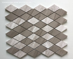 Cinza veia de madeira Marble Rhombus painel contra salpicos de formato de imagens em mosaico para cozinha e casa de banho com piso e parede