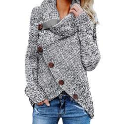 Señoras la moda mujer Heather Grey Buttoned envolver Turtleneck suéter tejido