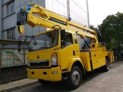 Sinotruk HOWO 4X2 14m 16m 18m 20m de la rampe pliable de flèche télescopique hydraulique monté sur camion plate-forme de travail aérien un fonctionnement en altitude camion avec benne de travail
