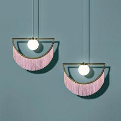 Fancy Modern Decorative Stoff Schatten Hängeleuchte Stilvolle Verträumt Rosa Quaste Fransen Halb Pendelleuchte für Esszimmer