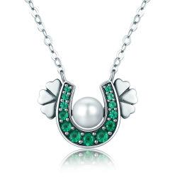 أصيل 925 [سترلينغ سلفر] [هورسشو] اللون الأخضر [كز] نفل زهرة مدلّاة عقد نساء [سترلينغ سلفر] مجوهرات