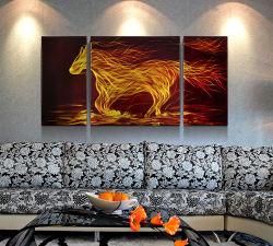 """부엌과 침실 - 3개의 위원회 50 """" X 24 """"의 세트를 위한 화재 말 금속 벽 삽화 장식 현대 장식적인 예술 조각품"""