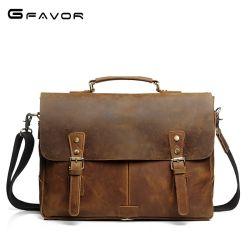 革ハンドバッグのラップトップのショルダー・バッグビジネスブリーフケースの学生かばんのメッセンジャー袋
