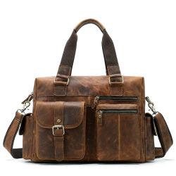 Commerce de gros hommes classique Sac en cuir véritable de l'épaule sacoche pour ordinateur portable Messenger