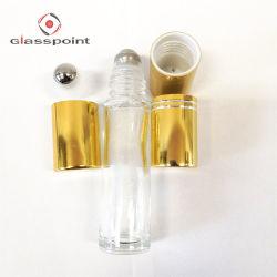 زجاجيّة عطر بكرة بالجملة على زجاجة مع غطاء ذهبيّة