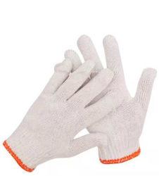Venda a quente 50gramas Tingidos de cor branca luvas de trabalho Tecidos de algodão luvas de lado as luvas de segurança