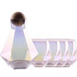 1300ml ガラス器具飲料水ボトルダイヤモンド形冷水クリスタルガラス ボールウッドの蓋付きの Jug Carafe セットを飲む