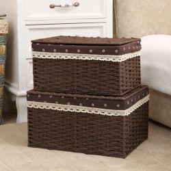 Panier en osier rectangulaire avec couvercle Vêtements Vêtements Panier articles divers Box