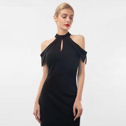 Frauen Slim Knit Krepp Schmetterling Ärmel Elegant Keyhole Bekleidung Kleid