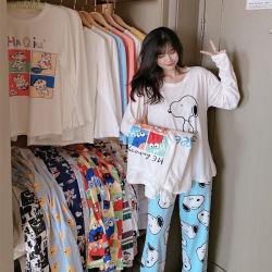 Vrouwelijke Pyjama's van het Kostuum van de Dienst van het Huis van het Beeldverhaal van de Broeken van de lente en van de Herfst de lang-Sleeved Toevallige Koreaanse