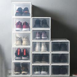 Foldable明確なプラスチック靴箱をアセンブルすること容易な卸売