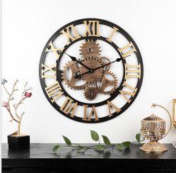 ホーム装飾的なハンドメイドの旧式な金無声大きい産業ギヤ創造的で無作法な50cm 3D金属の柱時計