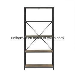 Quercia rustica/scaffale nero del metallo 4-Shelf Etagere con aperto indietro