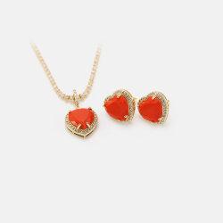 مجوهرات فاخرة جديدة مجموعة الذهب عقد القلب الأحمر و تم ضبط حلقات الأذن