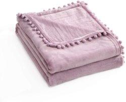 Pompom flequillo ligero acogedor pelota suave franela acogedor espiga jacquard manta cama Pompom Throw Púrpura claro