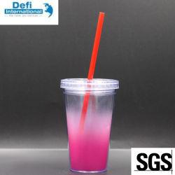 Double parois en plastique coloré de la paille de jus de Mug Tasse de paille