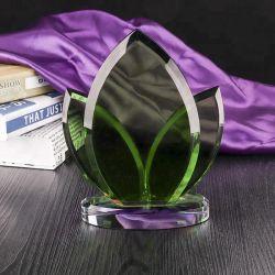 녹색 수정같은 유리 트로피 기념품 선물