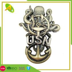 卸し売りギフトのカスタムマレーシアの依存した旧式な銀製の金属ロープの端は停止する打たれた真鍮の軍の硬貨コレクション(159)を