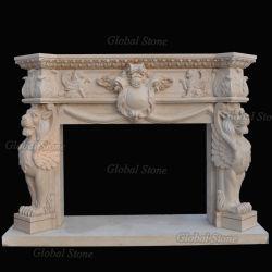Indoor Accueil Mobilier Sculpture Sculpture sur pierre cheminée en marbre (GSMF-234)