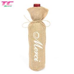 Coulisse de la toile de jute réutilisable de chanvre cadeau Linge de bouteille de vin Sacs avec logo imprimé