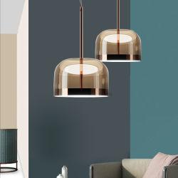 La mode moderne en verre de lampe témoin la poignée de commande suspendu en or rose