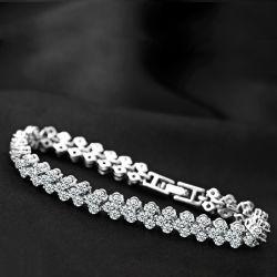 Pulseras de cristal para las mujeres de estilo romano circón chapados en plata blanca CZ13390 Pulsera Clásico de Tenis Esg