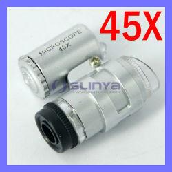 2 LED 45x portable Mini loupe de bijoutier loupe Microscope (SL-106)