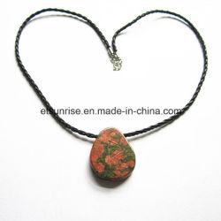 Semi-Preciosa Pedra Natural Cristal Unakite Colar