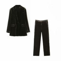 Neue Mode Damenjacke mit Euamerikanischen Stil Samt Blazer Baggy Hose