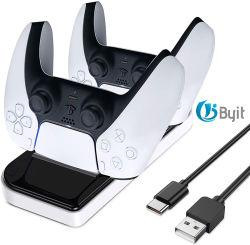 Byit 2021 PS5 듀얼 USB 충전 표시법 Mando Mantte 동영상 게임 조이스틱 게임패드 컨트롤러 액세서리 충전기 스탠드 PS5 도크
