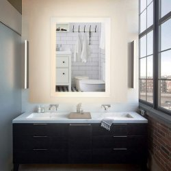 Светодиод горит ванная комната на стену наружного зеркала заднего вида, в современном прямоугольник светодиод горит на стену наружного зеркала заднего вида с подсветкой, современным Fog-Free косметические зеркала в противосолнечном козырьке сенсорный дисплей с подсветкой ванной