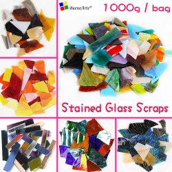 1000grama vitrais de aparas de embarcações de bricolage Tiffany hobbies do mosaico de vidro fornecedor de material de bricolage