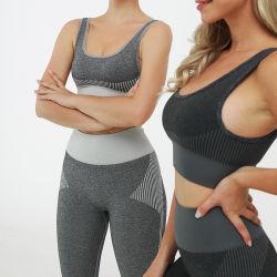 이음새가 없는 2개 피스 세트 Legging는 & Racerback 스포츠 요가 운동 적당 살짝 밀기를 위한 브래지어 높은 충격 지원 체조 착용을 덧댔다