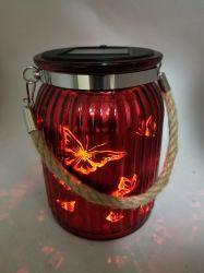 그린 나비 모양의 태양열 유리 랜턴 - SL01r