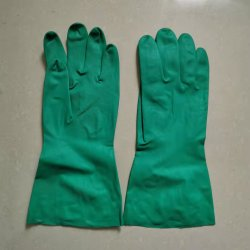 De Handschoenen van het latex 74G, de Chemische Bestand Groene Industriële Handschoenen van het Nitril 15mil