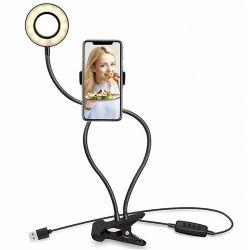 ライブ放送 / 柔軟な自撮り用のセルフィーライトリングの販売に最適 クリップセル電話機ホルダ付きスタンド LED リングライト