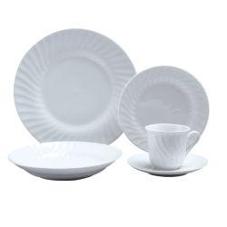 Spiraalvormig Patroon 20 PCs maakte de Fijne Reeks van het Diner van het Porselein Ceramische in reliëf