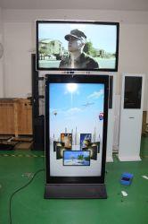43 и 55 дюйма двойной экран киоск для рекламы и самообслуживания