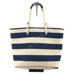 Large bande ligne bleu marine toile Shopping sac fourre-tout pour les femmes