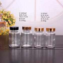 60ml 100ml om de Duidelijke Fles van het Kruid van de Fles van de Opslag van het Glas Zoute met Gouden Schroefdop