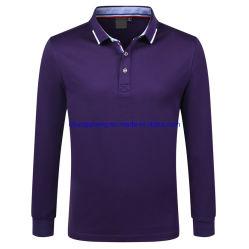 Unisex 260 g de 85% algodón 15% de fibras de seda la nervadura de manga larga de trabajo Campo de Golf de cuello Polo Sport
