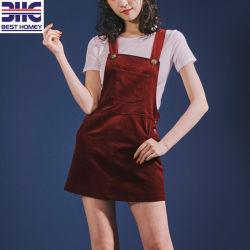 Rote Kordsamt-Aufhängevorrichtung-Frauen-Kleid-Dame-Form-Kleidung