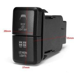 Auto voiture 12 V double barre lumineuse à LED ON-OFF Contacteur pousser le bouton du contacteur pour Toyota Landcruiser Prado Hilux