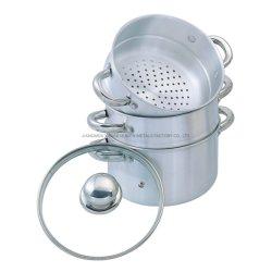 Высокое качество 3-Tier алюминиевой пароварке большой емкости в горшочках кухня горшки для приготовления пищи со стеклянной крышкой