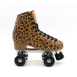 屋外 3D プリント PVC レザーファッションクワッドローラースケート用 女性