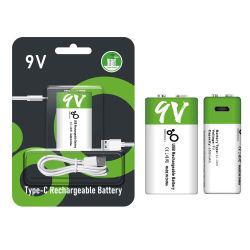 9V литий-ионный аккумулятор повышенной емкости 650 Мач литий-ионный полимерный аккумулятор с типом-C USB-разъем для зарядки, 1-Pack