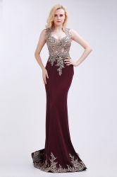 Rotes Abend-Kleid-elegantes bördelndes quadratisches Stutzen-Fußboden-Längen-Kleid mit Gerichts-Serie