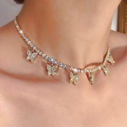 2020의 형식 반짝임 섹시한 당 다이아몬드 AAA 지르콘 CZ 돌 테니스 소녀 십자가 여자를 위한 펀던트 목걸이 사슬