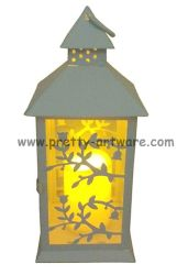 LED de métal Flameless Candle Lantern feuilles sculpté