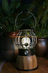 Camping lumière bambou lanterne rechargeable Lampe de table avec la Banque d'alimentation